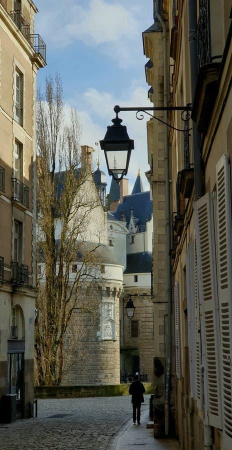 Scorcio insolito del castello dei duchi di Bretagna, Nantes, Francia fotografia stock libera da diritti