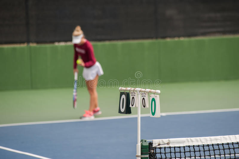 Score begins zero to zero. Tennis match about to begin with first serve royalty free stock photo