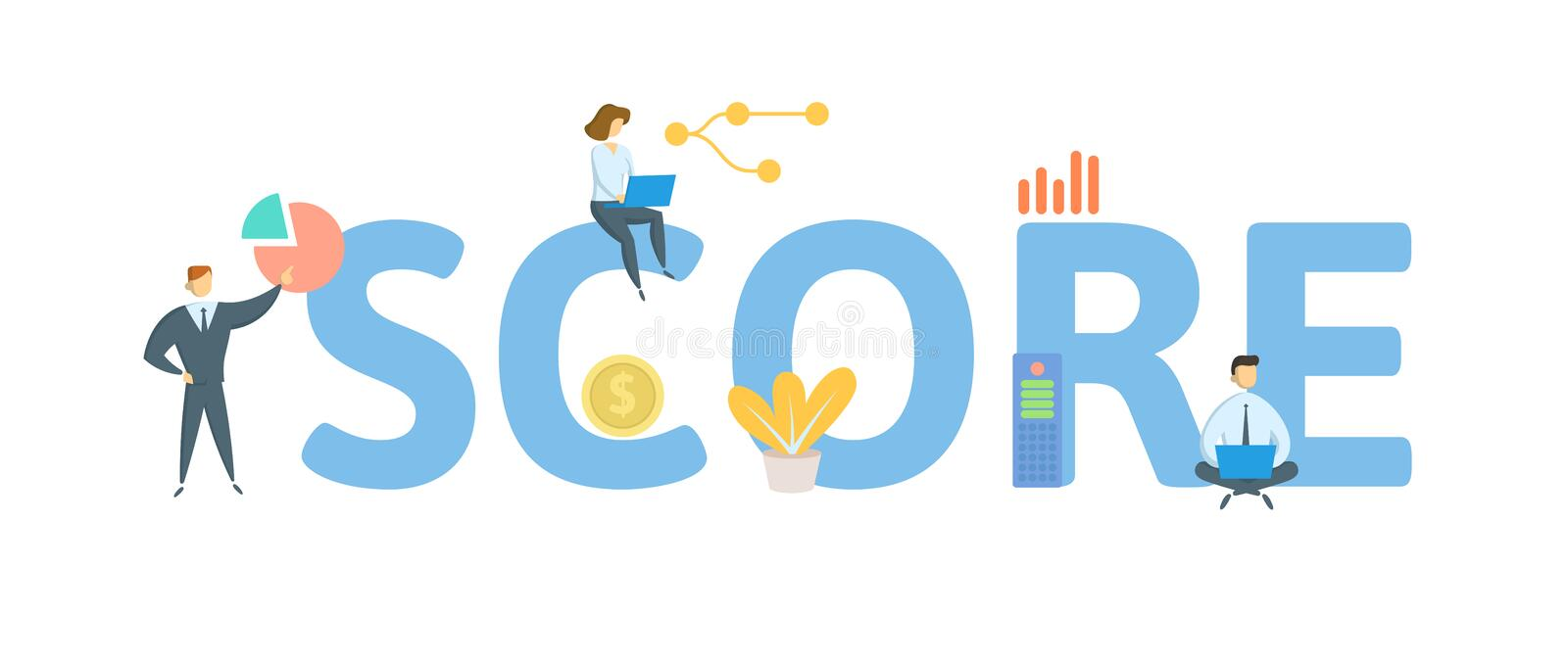 SCORE. Concept with people, letters and icons. Flat vector illustration. Isolated on white background. SCORE. Concept with people, letters and icons. Colored vector illustration
