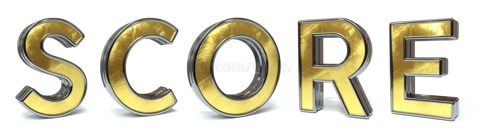 Score golden text. Score 3d rendered gold and silver color text on white royalty free illustration