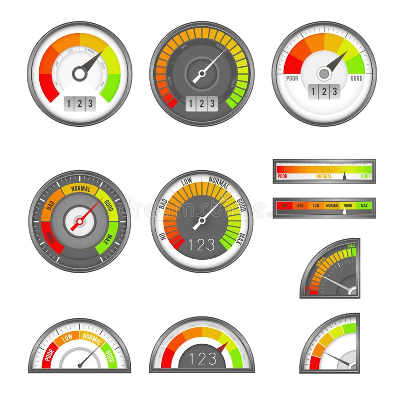 Score indicator. Speedometer indicators level score, scale panel accelerate rating, rate credit gauge vector set. Score indicator. Speedometer indicators level vector illustration