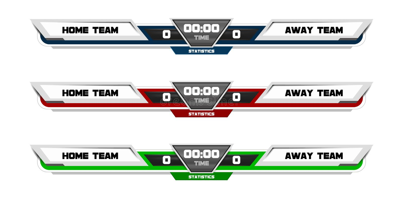 Scoreboard Digital Screen Graphic Template for Broadcasting of soccer, football or futsal, illustration vector design vector illustration