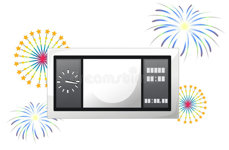 A scoreboard with fireworks. Illustration of a scoreboard with fireworks on a white background stock illustration