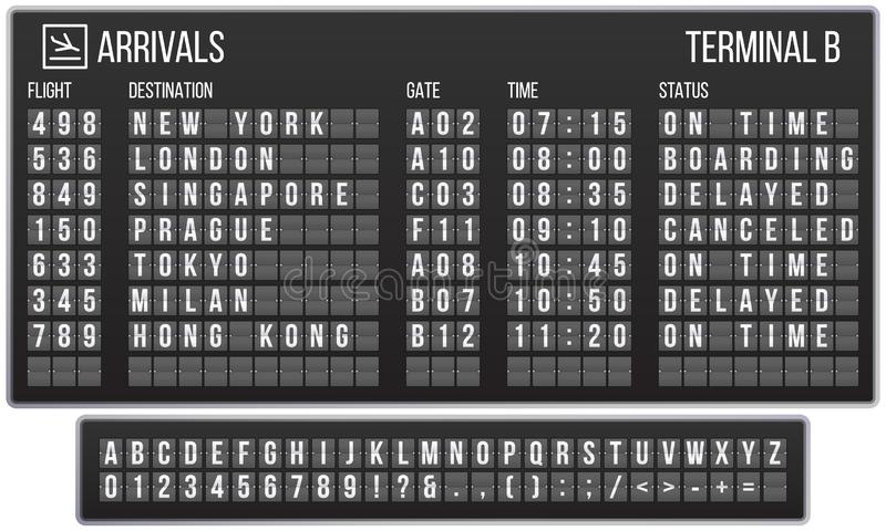 Scoreboard flip font. Arrival airport signs board, railroad arrivals and departures scoreboards letters realistic vector. Scoreboard flip font. Arrival airport stock illustration