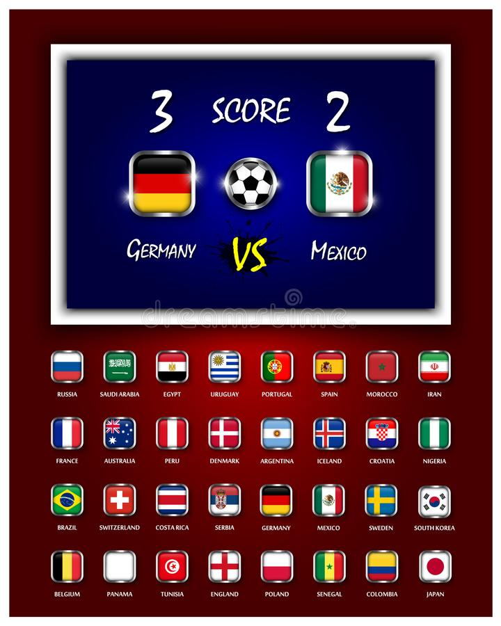 Scoreboard of football match and square design national flags with metal frame on blue and red color gradient background . Vector vector illustration