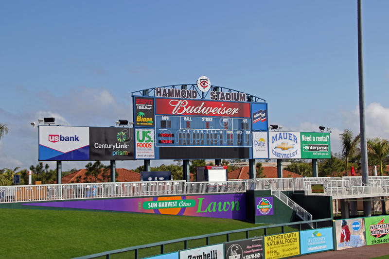 The Scoreboard at Hammond Stadium. Hammond Stadium is a baseball field located in the CenturyLink Sports Complex in South Fort Myers, Florida, United States. The royalty free stock photos