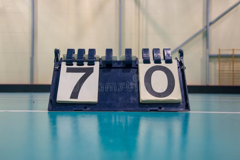 Scoreboard inside the gym on the floor stock photography