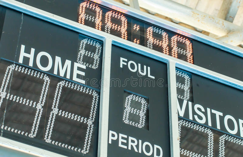 Scoreboard with LED display digital font on a black background. royalty free stock photography