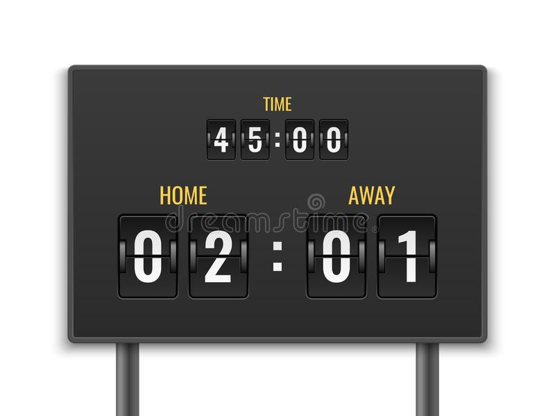 Scoreboard. Number count timer numeric down date mechanic panel countdown stadium match goal football sport game draw royalty free illustration