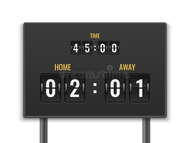 scoreboard Numerowego hrabiowskiego zegaru numeryka puszka daty mechanika panelu odliczanie stadium dopasowania bramkowego futbol royalty ilustracja