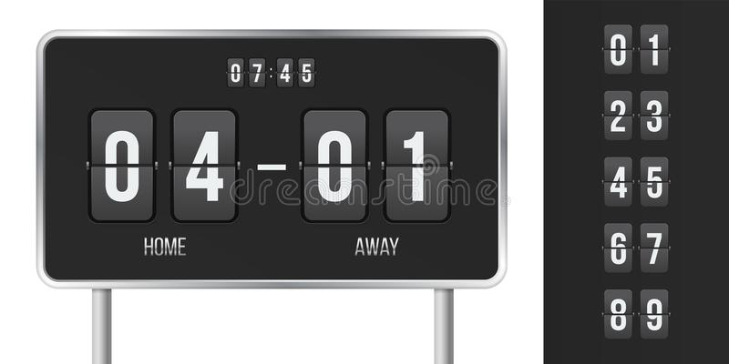 Scoreboard vector score and time flip countdown stock illustration