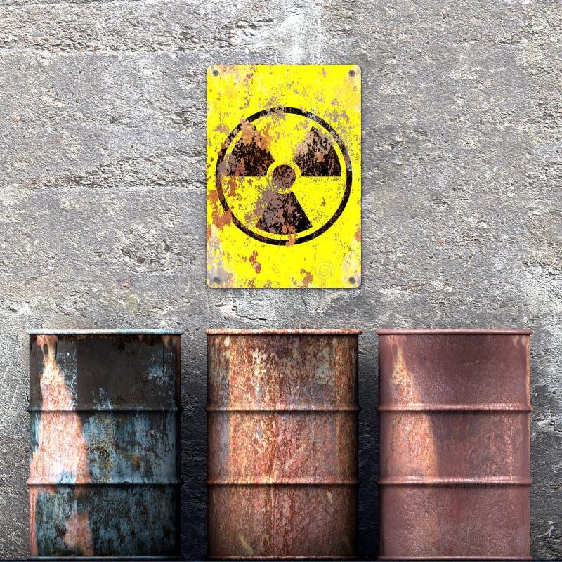 Scorie radioattive di stoccaggio, barilotti che riposano su una parete, segno con il simbolo di radioattività, materiale nucleare illustrazione di stock