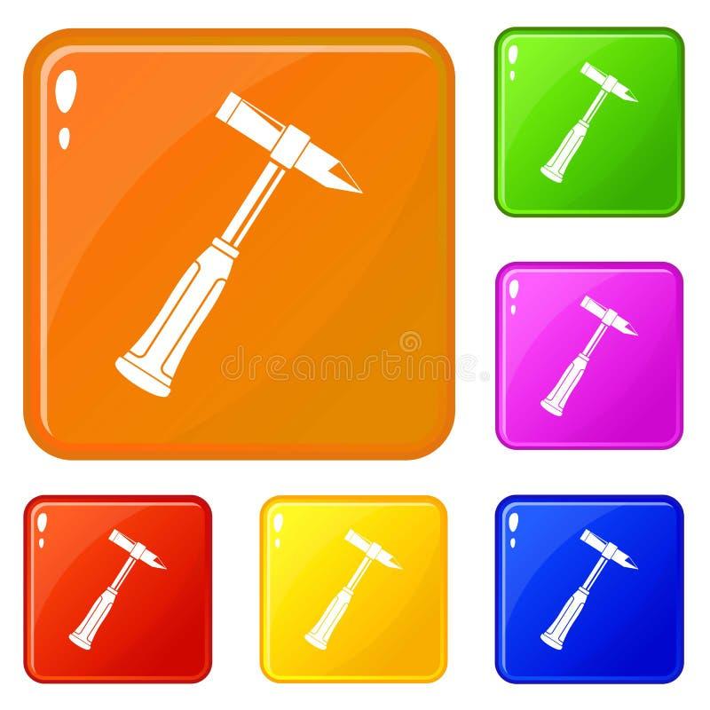 Scories de marteau de couleur de vecteur d'ensemble d'icônes de soudeuse illustration libre de droits