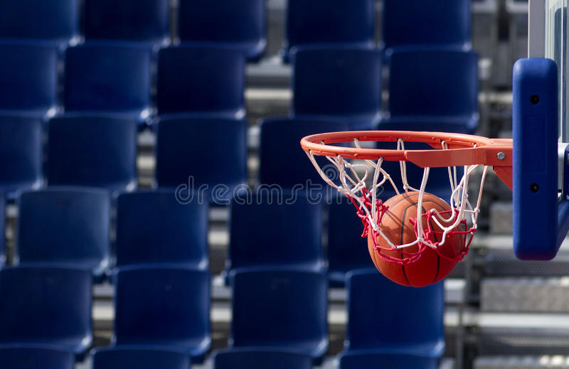 Scoring point. Basketball action finished scoring point stock images