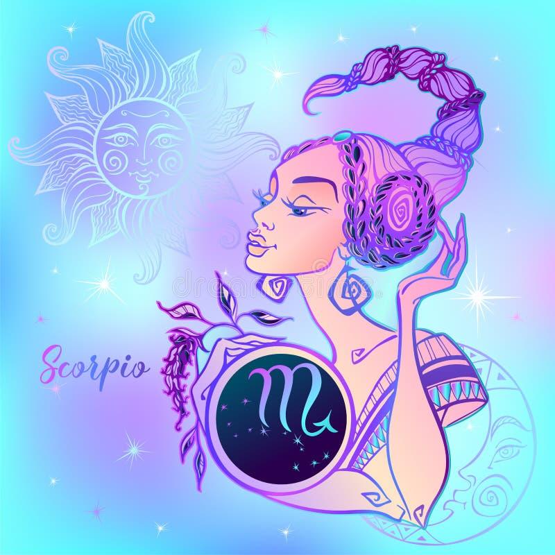 Scorpio знака зодиака красивая девушка horoscope космофизики вектор иллюстрация вектора