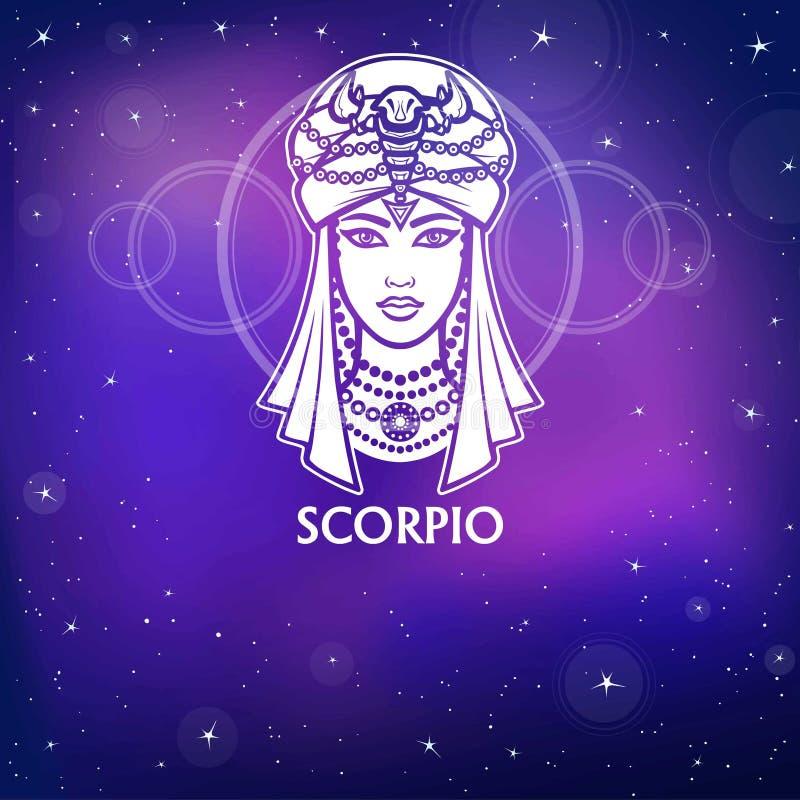 Scorpio знака зодиака Фантастическая принцесса, портрет анимации Белый чертеж, предпосылка - небо ночи звездное иллюстрация штока
