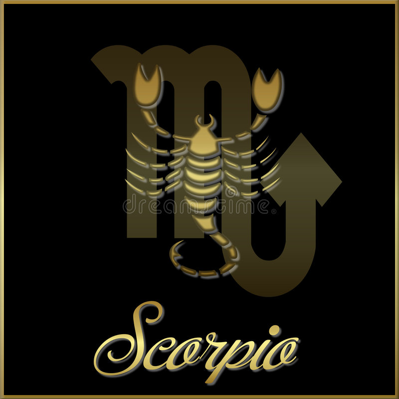 Scorpio. Artistic astrological astrology bright decorative design element emblem framed gold golden graphic horoscope icon illustration metal metallic royalty free illustration