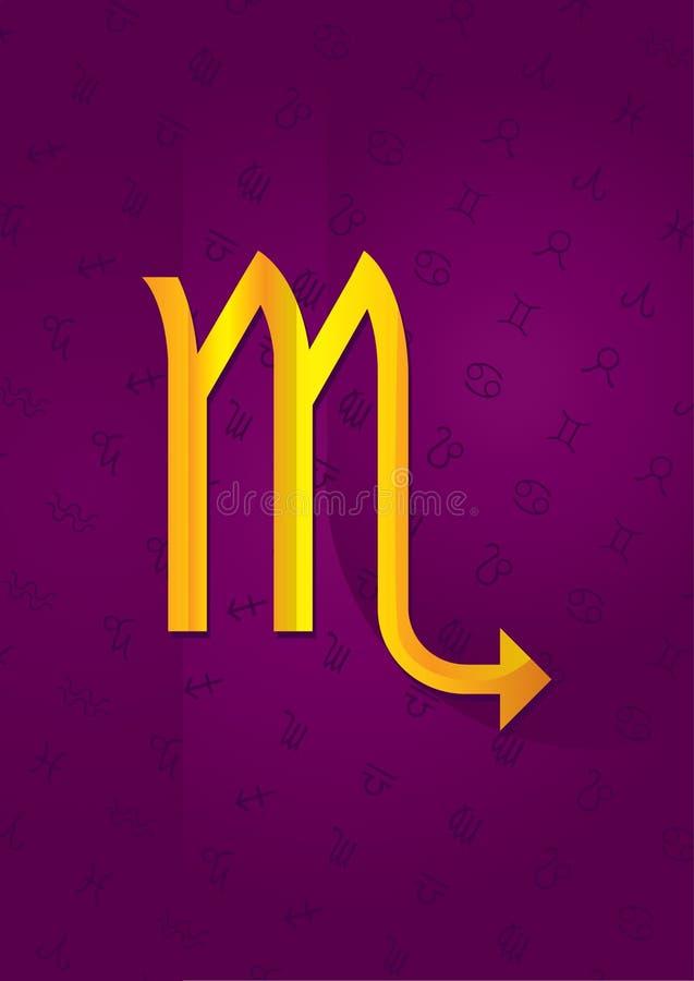 Scorpio. Golden sign against violet background royalty free illustration