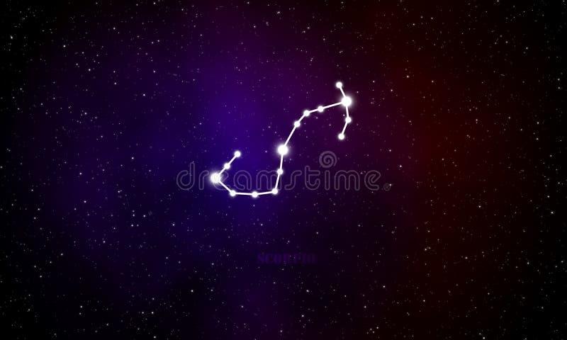 Scorpio gwiazdozbioru astrologiczny znak z galaxy tłem royalty ilustracja