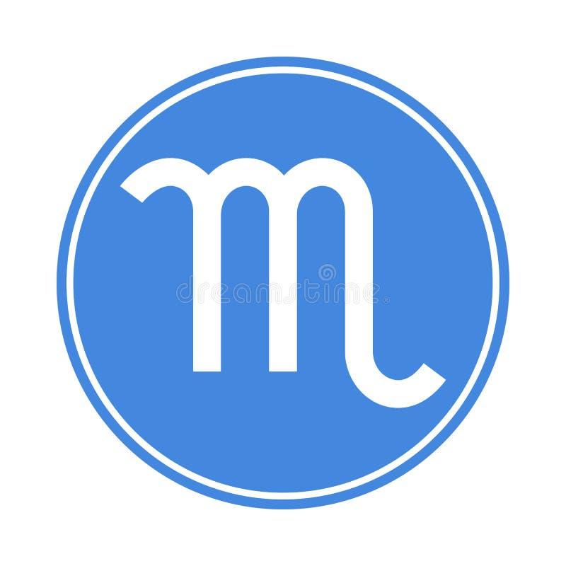 Scorpio ikona Wektorowy Astrologiczny, horoskopu znak Zodiaka symbol Wodny element majcher Wektorowa ilustracja odizolowywająca n royalty ilustracja