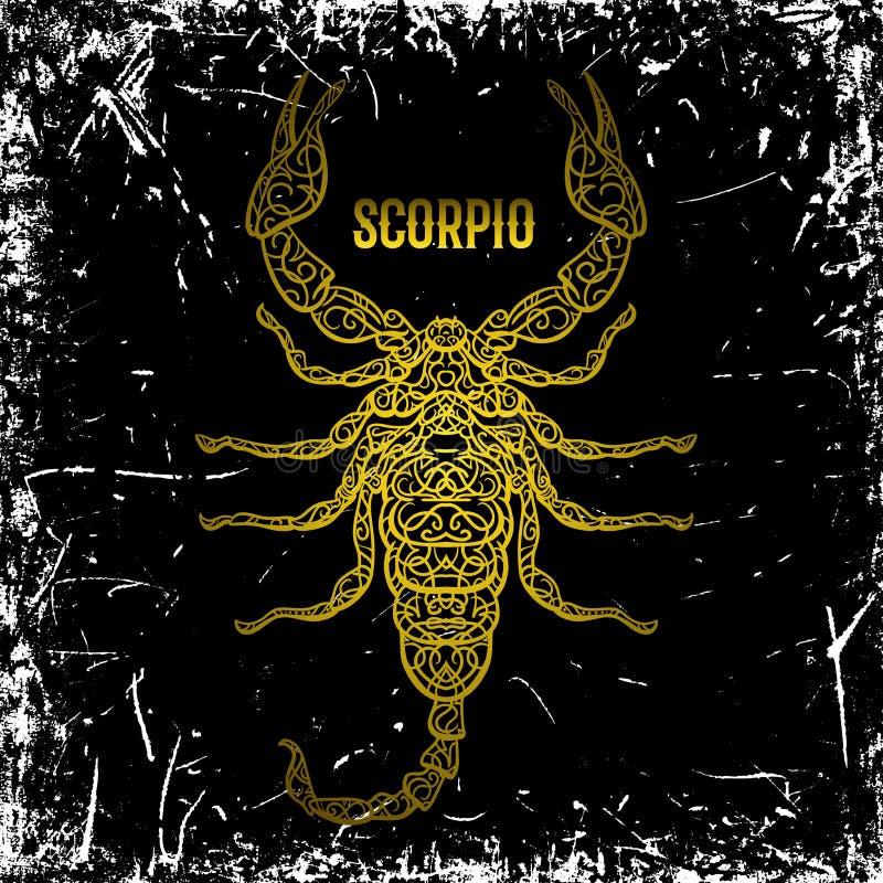 scorpio Segno dorato d'annata decorato dello zodiaco sul fondo di lerciume illustrazione vettoriale