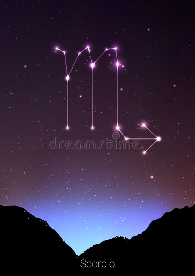 Scorpio zodiac constellations sign with forest landscape silhouette on beautiful starry sky with galaxy and space behind. Scorpio horoscope symbol stock illustration