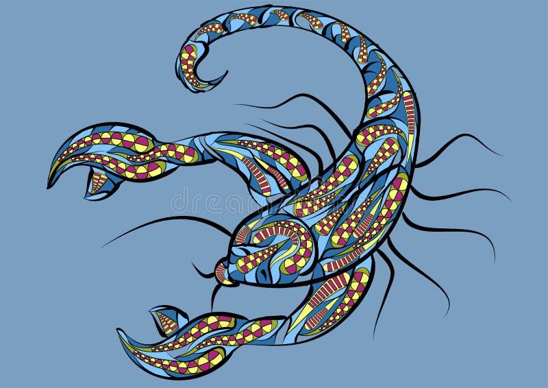 Scorpio zodiac sign. Abstract ethnic silhouette vector illustration