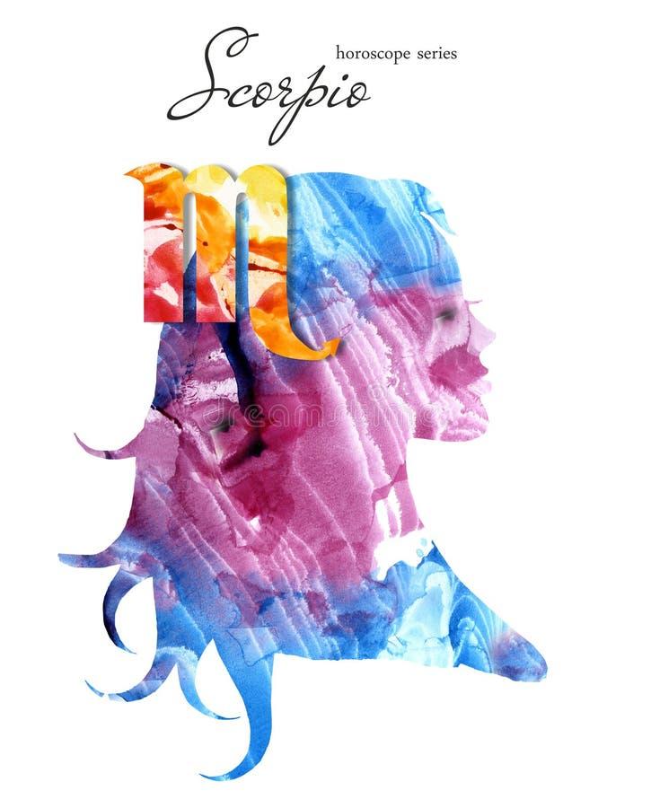 Scorpio zodiac sign. Beautiful girl silhouette. Watercolor illustration. Horoscope series vector illustration