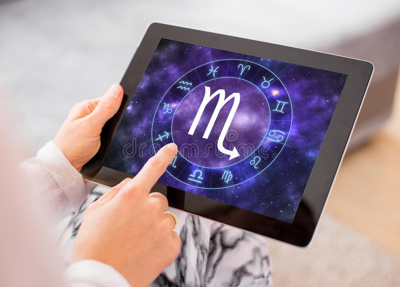 Scorpio zodiac sign. On tablet royalty free stock photography