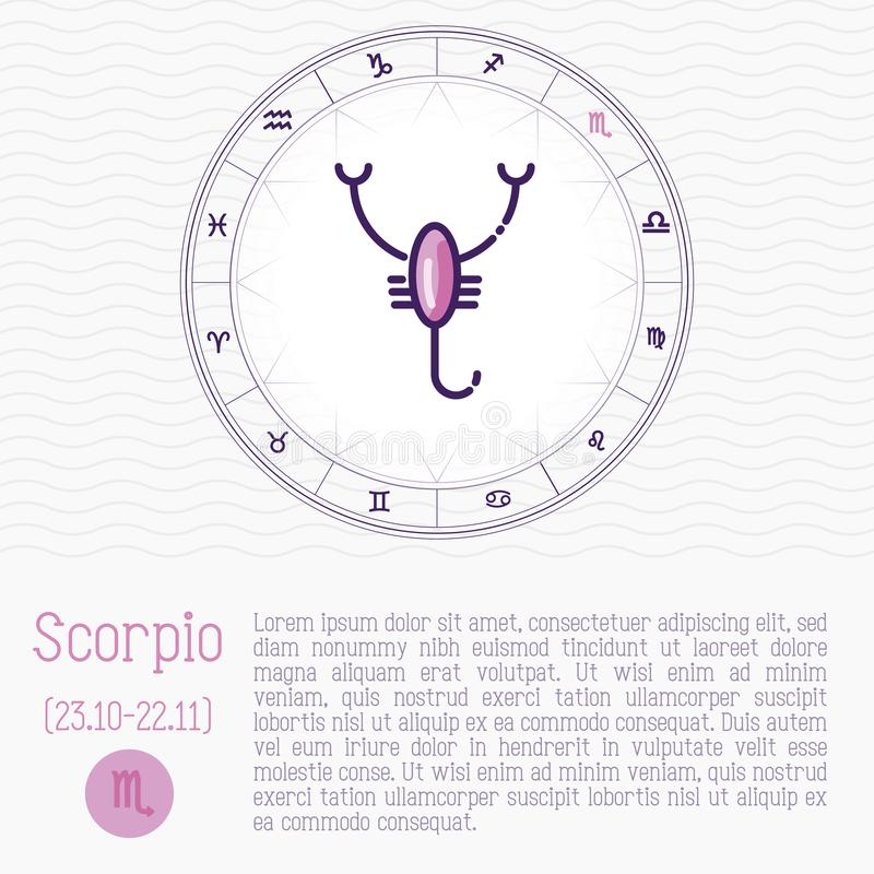 Scorpio in zodiac wheel, horoscope chart. With place for text. Thin line vector illustration stock illustration