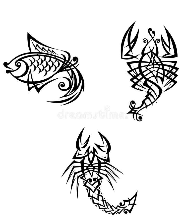 scorpion cancer et poissons zodiacaux illustration de vecteur illustration du astrologie. Black Bedroom Furniture Sets. Home Design Ideas