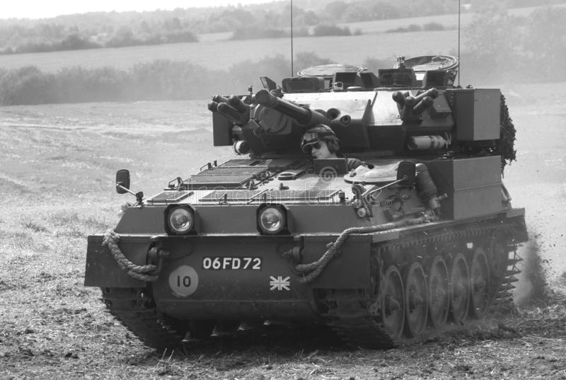 Scorpion light tank. Military, army, cvrt, speed, driving, cross-country, crosscountry, coldwar, britisharmy, lighttank, reconnaissance, recce, scout royalty free stock photography