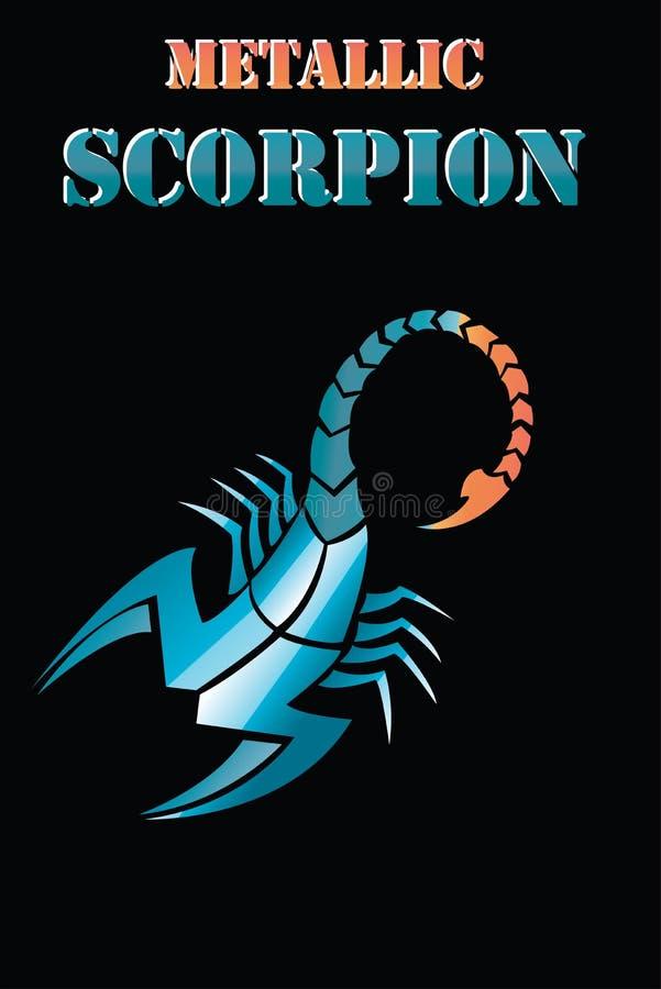 Scorpion metallic -tattoo. Astrological icon. The symbol of November - Zodiac. Art tribal coloured design sketch. royalty free illustration