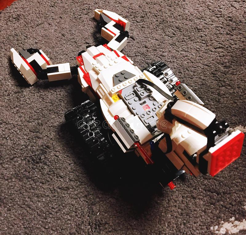 A scorpion robot made of building blocks. This scorpion robot is made of eco building blocks. This scorpion`s name is KAKA, which made for fighting royalty free stock photos