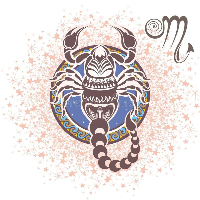 scorpion zodiaque des symboles douze de signe de conception de dessin-modèles divers illustration stock