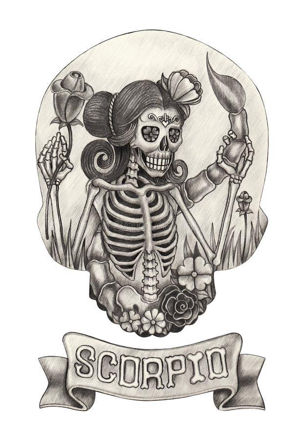 Scorpione del cranio dello zodiaco Disegno della mano sul documento illustrazione di stock