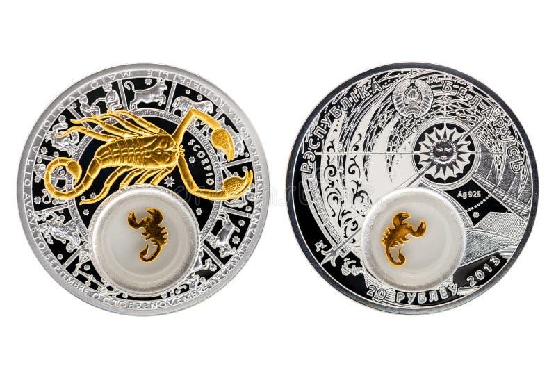 Scorpione di astrologia della moneta d'argento della Bielorussia fotografie stock