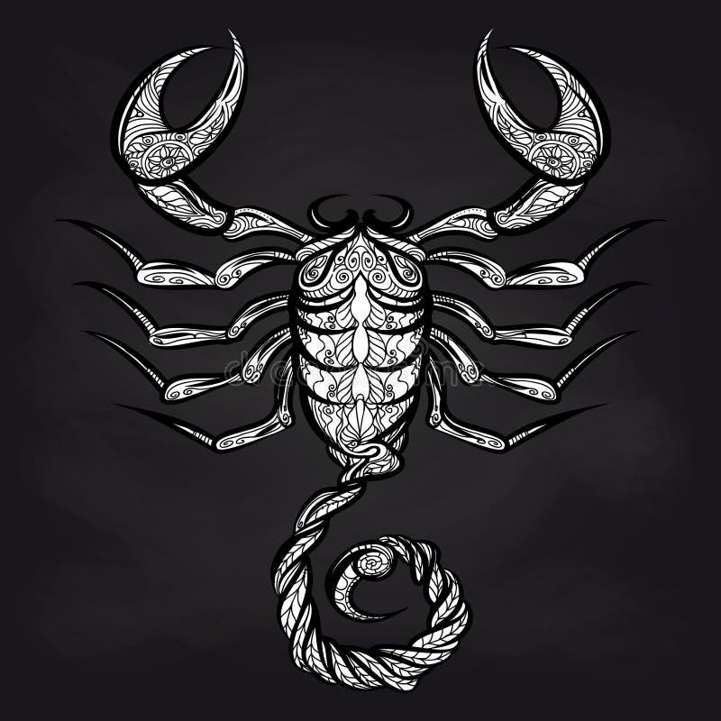 Scorpione di scarabocchio sulla lavagna royalty illustrazione gratis