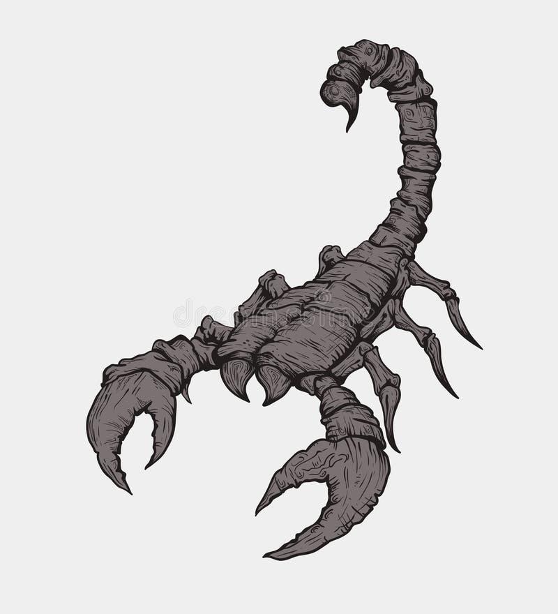Scorpione su fondo grigio royalty illustrazione gratis