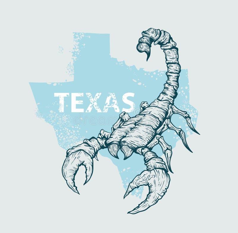 Scorpione su una mappa del fondo del Texas illustrazione di stock