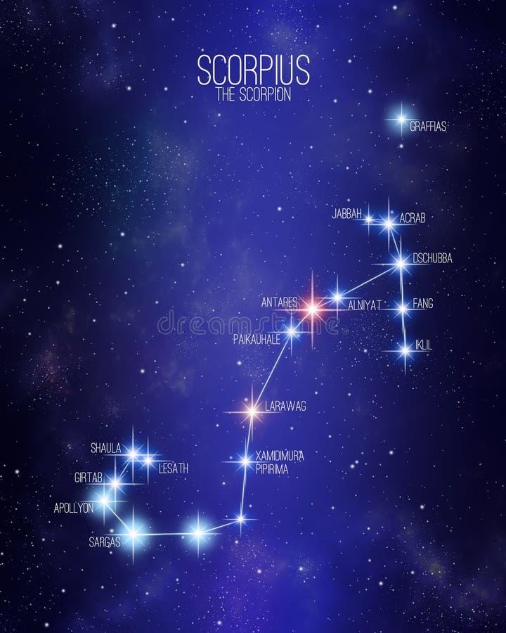 Scorpius översikten för skorpionzodiakkonstellation på en stjärnklar utrymmebakgrund med namnen av dess huvudsakliga stjärnor Rel vektor illustrationer