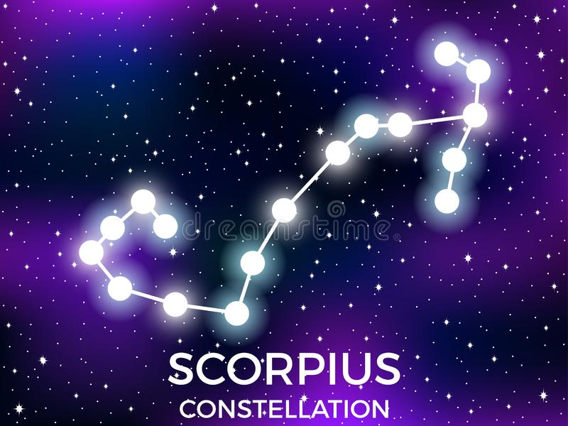 Scorpius constellation. Starry night sky. Zodiac sign. Cluster of stars and galaxies. Deep space. Vector. Illustration stock illustration