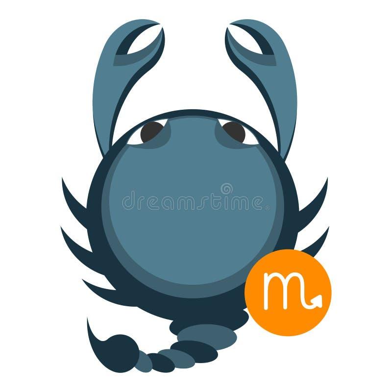 Scorpius of de astrologieteken van Schorpioen op wit wordt geïsoleerd dat Het symbool van de horoscoop royalty-vrije illustratie