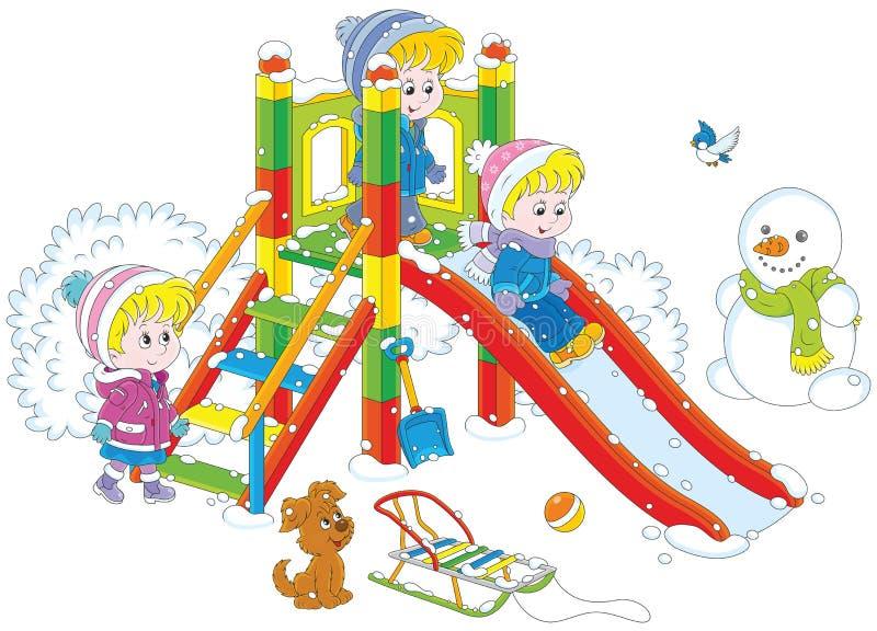 Scorrevole del ` s dei bambini in un parco illustrazione vettoriale