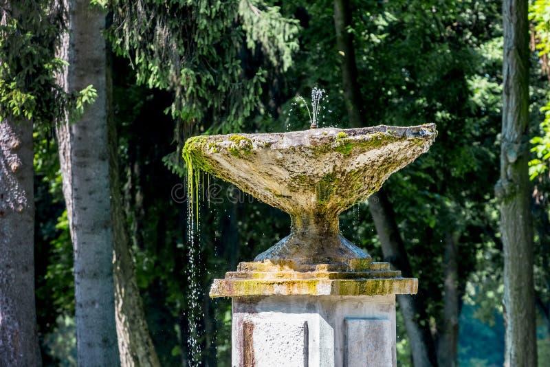 Scorrimenti dell'acqua da una ciotola di pietra di fountain_ antico fotografia stock