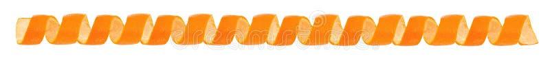 Scorza d'arancia del ricciolo come confine Isolato su priorità bassa bianca fotografie stock libere da diritti
