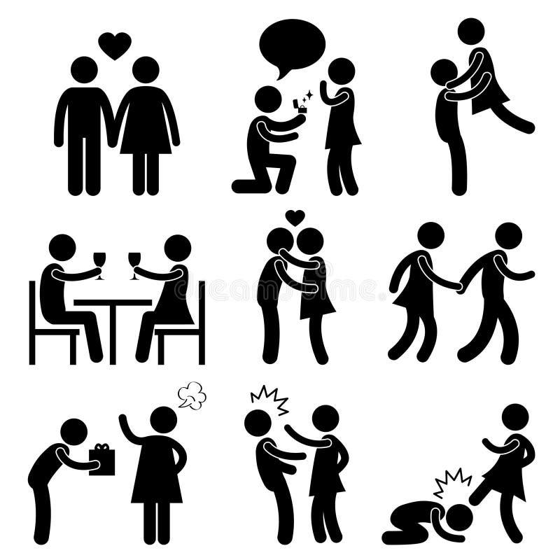 Scossa arrabbiata di schiaffo dell'abbraccio di proposta di amore delle coppie dell'amante illustrazione vettoriale