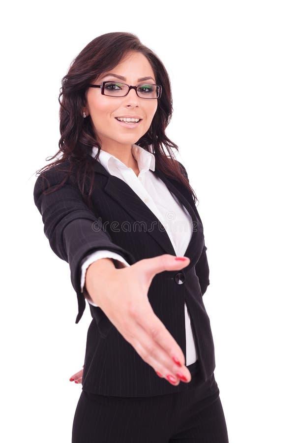 Scossa della mano della donna di affari immagine stock libera da diritti
