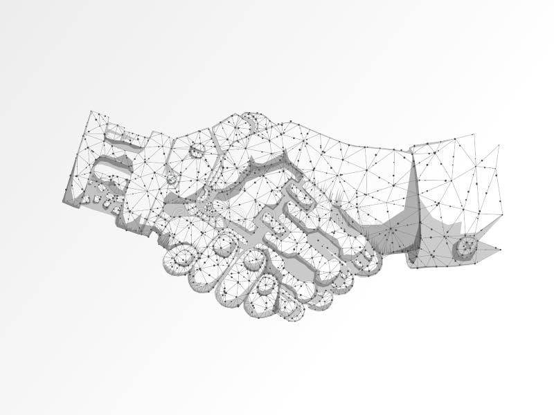 Scossa delle mani dell'essere umano e del robot di affari Spazio poligonale in basso poli con i punti e le linee di collegamento  illustrazione di stock