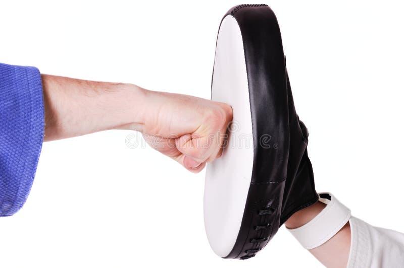 Scossa di karatè con il pugno serrato fotografie stock libere da diritti